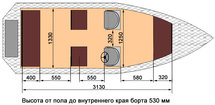 Схема лодки Wyatboat-430 DC