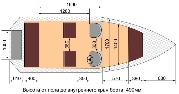 Схема лодки Wyatboat-460 DC